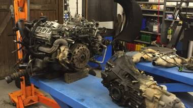 Audi RS4 gearbox removed from the engine.